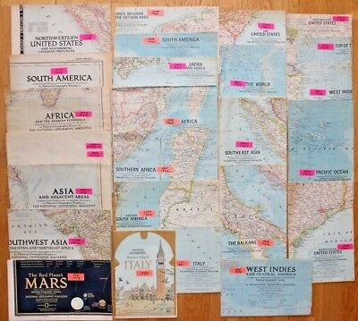 Lot of 26 Vintage National Geographic Maps Inserts 1950's to 1973 Incl. Mars map