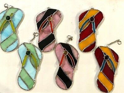6-Piece Set Stained Glass 5.5 inch Flip Flop  Sun Catchers  [9046-12]