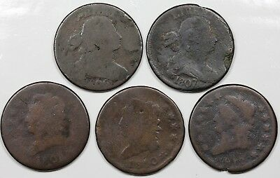 Lot of 5 Large Cents, 1806, 1807/6, 1808, 1810, 1812 Large Date, lower grades