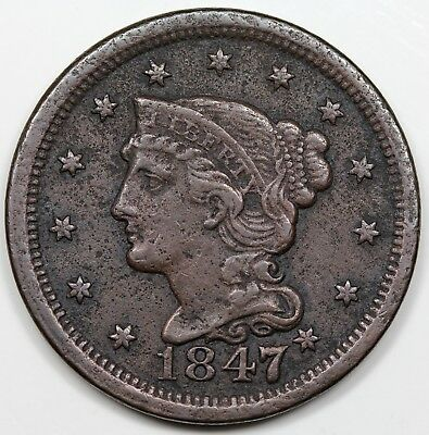 1847/47 Braided Hair Large Cent, Large over Small 7, XF detail