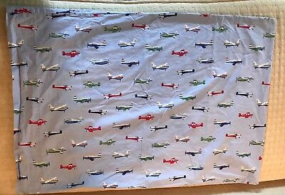 Pottery Barn Kids Blue Airplane Standard Size Envelope Style Pillowcase Planes
