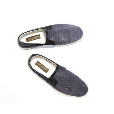24c2d569b79cf Dolce & Gabbana Men's Leather and Suede Perforated Loafers Slip On Shoes ...