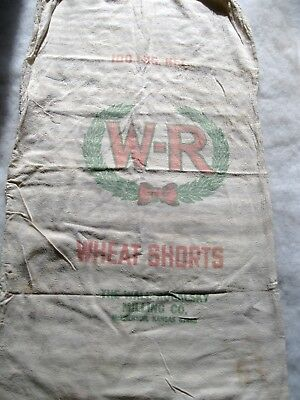 "W-R WHEAT SHORTS /VINTAGE LINEN FEED-SACK-GRAIN-BAG 20"" x 32""~GRAPHICS"