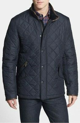 BARBOUR MENS POWELL PolarQuilted With Leather  Black Jacket Size M $299+