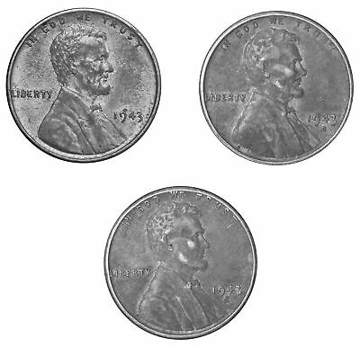 1943 -PDS  Lincoln Wheat WWII Steel cent Pennies - XF Extra Fine  US 3 Coin set