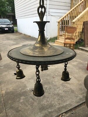 Antique Victorian  4 Light Solid Brass Chandelier Ceiling Fixture Perkins OLD