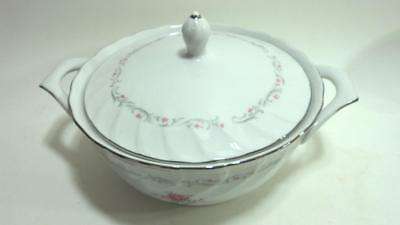 1 Royal Swirl Fine China Of Japan Covered Vegetable Bowl, Pink Rose Pattern
