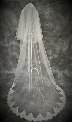 Bridal Veil *2 Tier Cathedral Length*Wide Corded Lace* Ivory/Off White*Bespoke*
