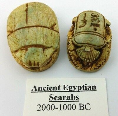 2 Ancient Egyptian Faience Scarab Beetles Amulet Figurines 2000 - 1000 BC