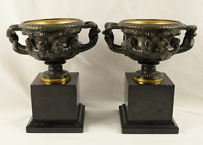 Pair of Antique French Bronze Handled Urns Compotes Bacchus Masks