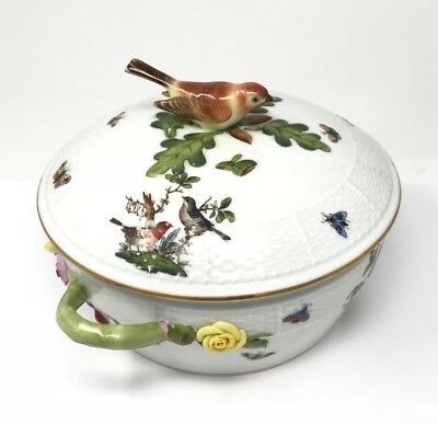 Herend Rothschild Bird 11 1/2'' Covered Serving Dish Bowl Casserole - Mint