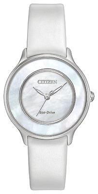 Citizen Eco-Drive Women's EM0381-03D Circle of Time Leather Strap 30mm Watch