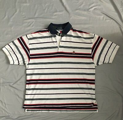 735e8702 Vintage Tommy Hilfiger Striped Polo Shirt Mens XL Color Block Crest 90s Logo