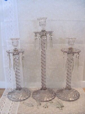 Magnificent Antique Crystal Candelabra Baccarat Bohemian Prisms