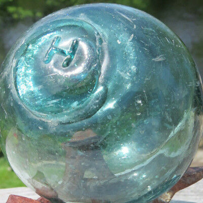 """Japanese Glass Fishing Float WP Mark 36 3""""D 'H' UNCOMMON w/Stand Antique"""