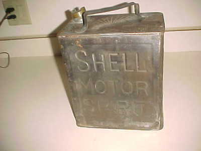 Antique SHELL MOTOR SPIRIT  -  2 Gal GAS CAN - EMBOSSED 4 SIDES