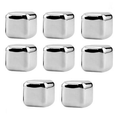 8x Stainless Steel Ice Cubes Whiskey Stones Chilling Stones Rocks with Tongs