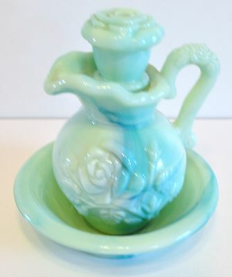 Avon Pitcher And Bowl Blue Glass With Roses