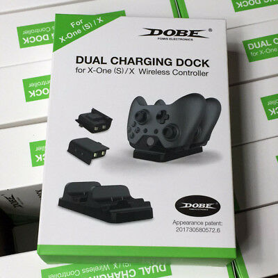 Dual Charging Station Dock Stand + 2 Battery For Xbox One X / Slim Controller