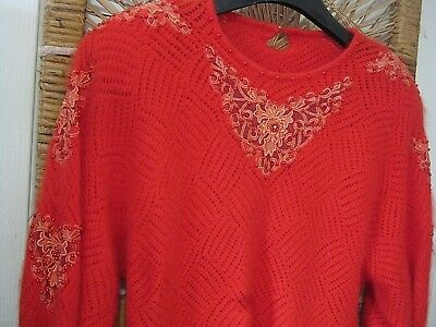 Delightful 80S Tomato Red Angora Blend Batwing Jumper With Embellishments 12.