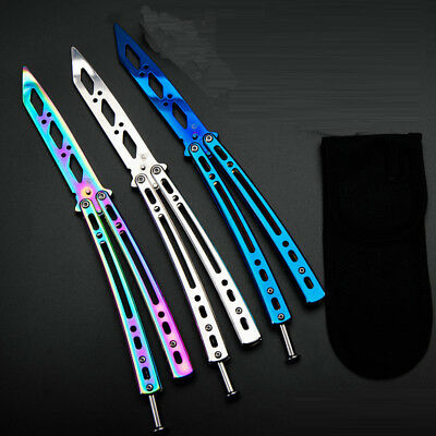 Metal Stainless Steel Butterfly BALISONG Trainer Training Dull Tool Practice