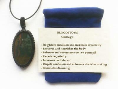 Bloodstone Pendant Crystal Gemstone Necklace, Adjustable Cord, Velvet Pouch