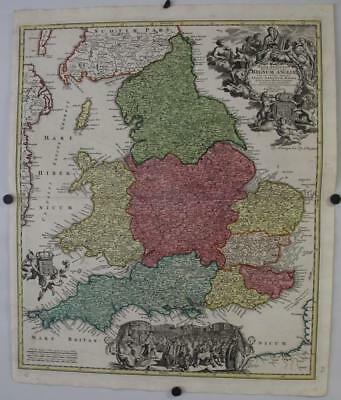 England & Wales United Kingdom 1715 Homann Antique Original Copper Engraved Map