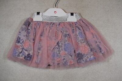 Baby Girl Size 0,1,2 Plum Pink & Floral Tutu Skirt NWT