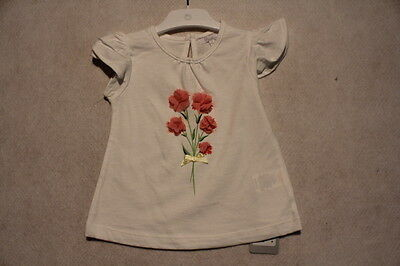 Baby Girl Size 000 Plum Summer White Top With Appliqué NWT