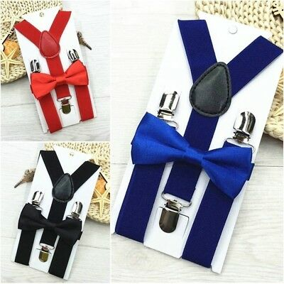 Boy Girl Solid Color Clip-on Suspenders Elastic Adjustable Braces with Bow Tie