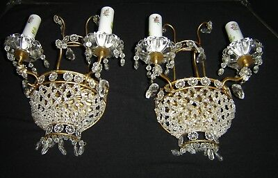 Antique French Empire Pair Of Bronze Dore Color And Glass Beads Wall Sconces NR