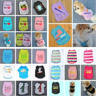 Various Puppy Dog Cat T-Shirt Summer Spring Vest Shirt Small Pet Clothes Costume