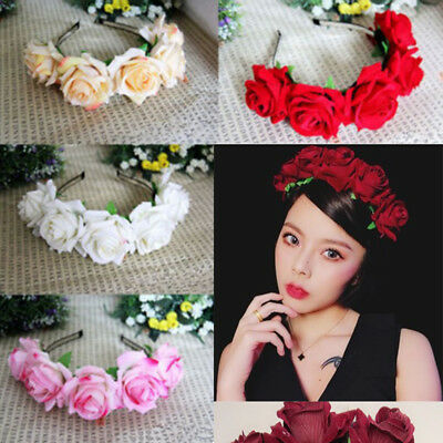 Big Flower Wedding Hair Headband Garland Girl Crown Floral Wreath Hairband Beach
