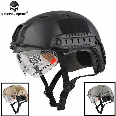 Emerson Military Airsoft Combat ABS Tactical FAST Helmet BJ Type Goggle Glasses