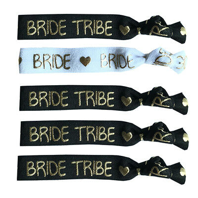 15 Black Gold Bride Tribe Elastic Hairband Wristband Hen Party Do Favor Wedding