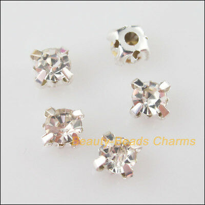 100Pcs Loose Crystal Handmade Sew on Claw Rhinestone White Silver Plated 4mm