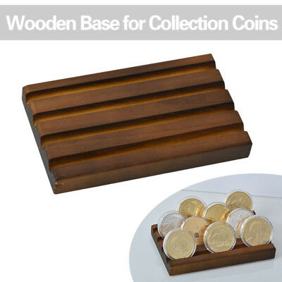 WR Solid Wooden Challenge Coin Display Stand Rack Case Casino Chip Holder 4 Row