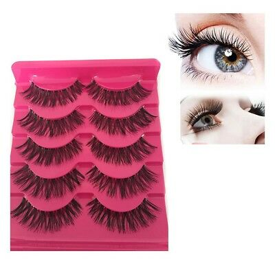 Soft 5Pairs Natural Long EyeLash Makeup Handmade Thick Fake False Eyelashes A539