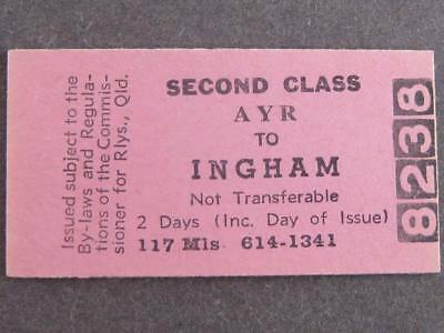 AYR to INGHAM 2nd CLASS SINGLE TICKET  QUEENSLAND RAILWAYS