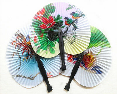 2x Hand Held Fans Mini Folding Chinese Style Flower Paper Fans Wedding Party Hot