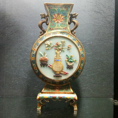 The old Chinese Enamel Cloisonne Vase inlaid in the Qing Dynasty 100 decoration