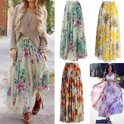 AU Chiffon BOHO Womens Floral Jersey Gypsy Long Maxi Full Skirt Beach Sun Dress