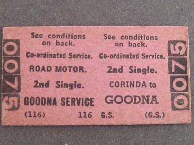 CORINDA to GOODNA CO-ORDINATED 2nd SINGLE TICKET  QUEENSLAND RAILWAYS