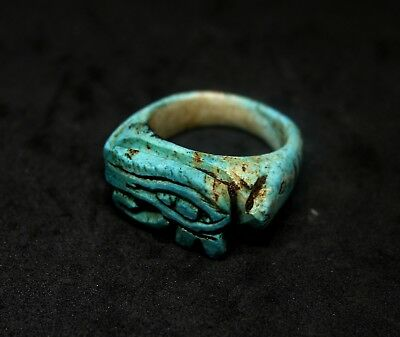 ANCIENT EGYPTIAN STONE FAIENCE RELIGIOUS RING MIDDLE KINGDOM.c1500BC