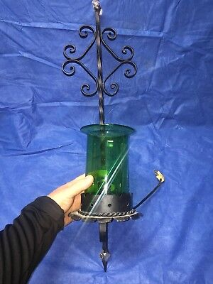 Vintage Light Wall Lamp Wrought Iron Gothic Spanish Revival Green