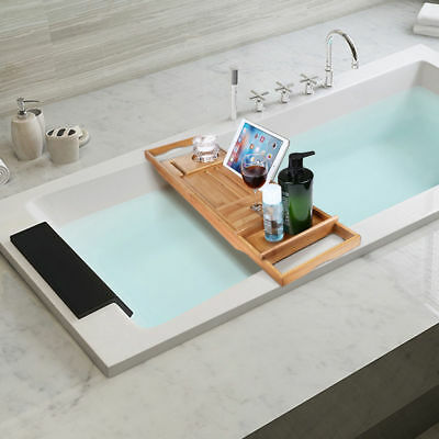 NATURAL BAMBOO BATHTUB Caddy with Extendable Sides,Book,Tablet,Phone ...