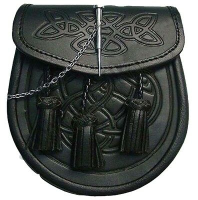 Kilt Sporran Celtic Embossed Black Leather Latch Pin Detail And Chain For Kilts