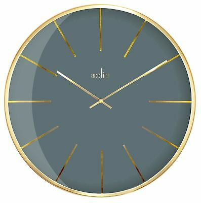 Acctim Luxe London Sky Grey Domed Glass Wall Clock 40cm
