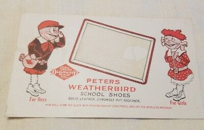 Peters Weatherbird School Shoes Diamond Brand Valentines Divided Back Postcard