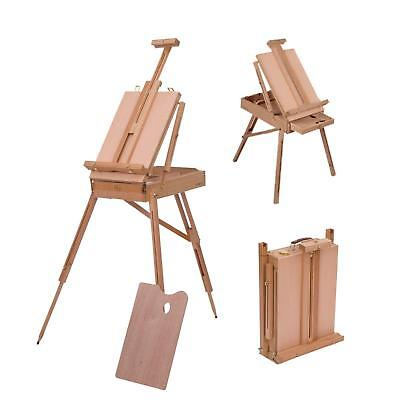 Wooden Field Art Travel Easel Tripod Adjustable Height Stand Drawer Portable A1